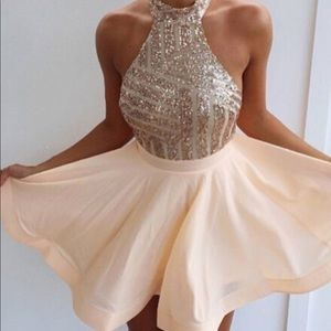Halter short rose gold sparkly Homecoming dress